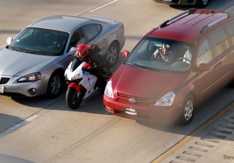 Bike Between two cars